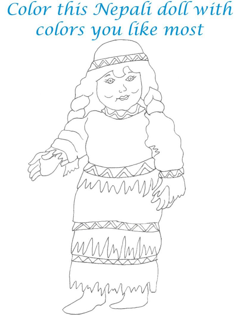 Dolls coloring printable page for kids 29
