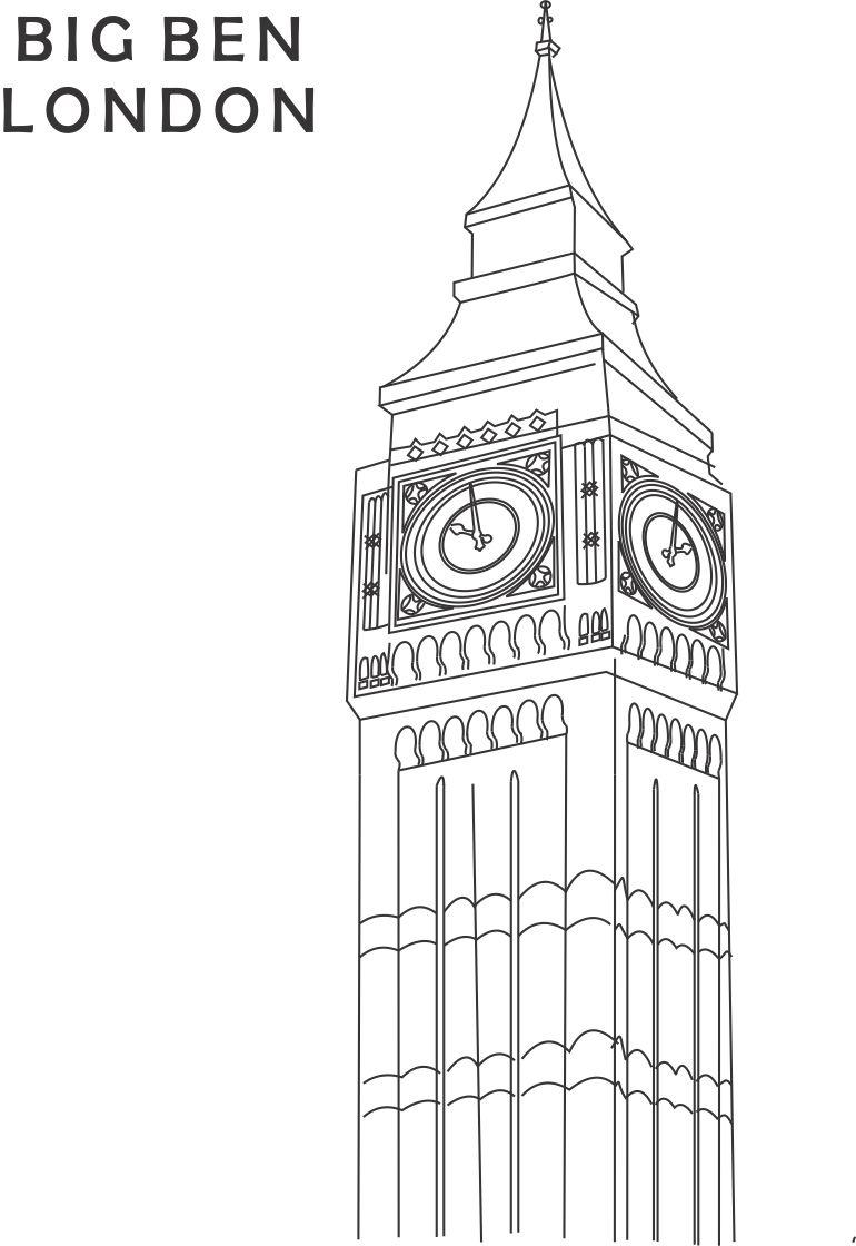 Big Ben In London Coloring Pages
