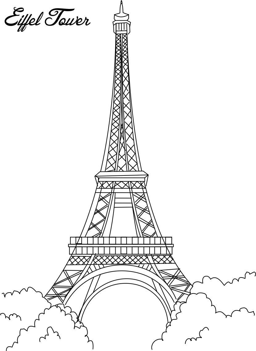 Eiffel Tower Coloring Printable Page For Pages Great