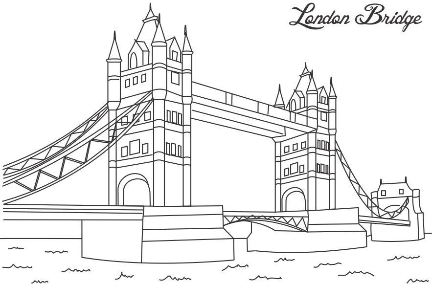 London Bridge coloring Bridge Drawing For Kids