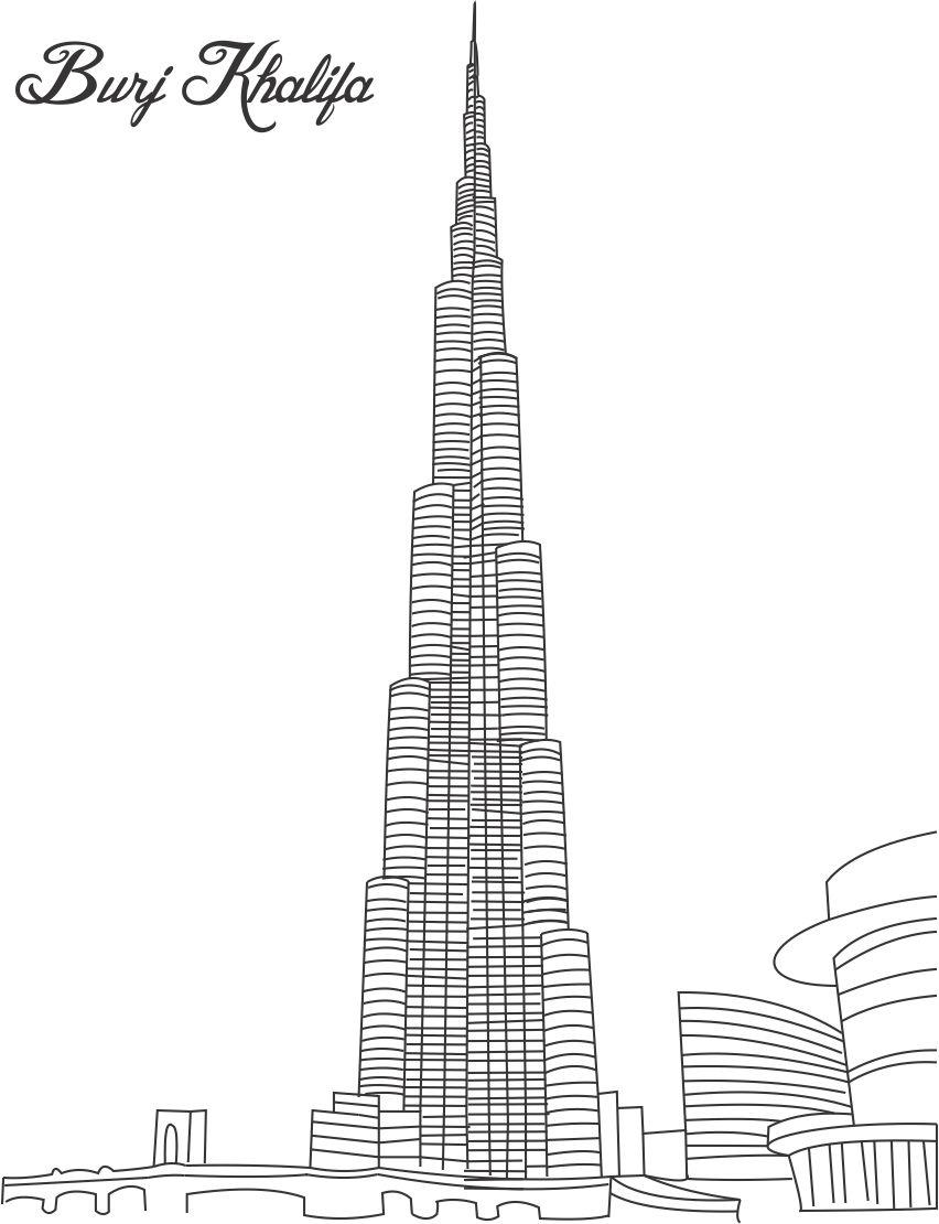 Burj Khalifa Coloring Page For Pages Great Building