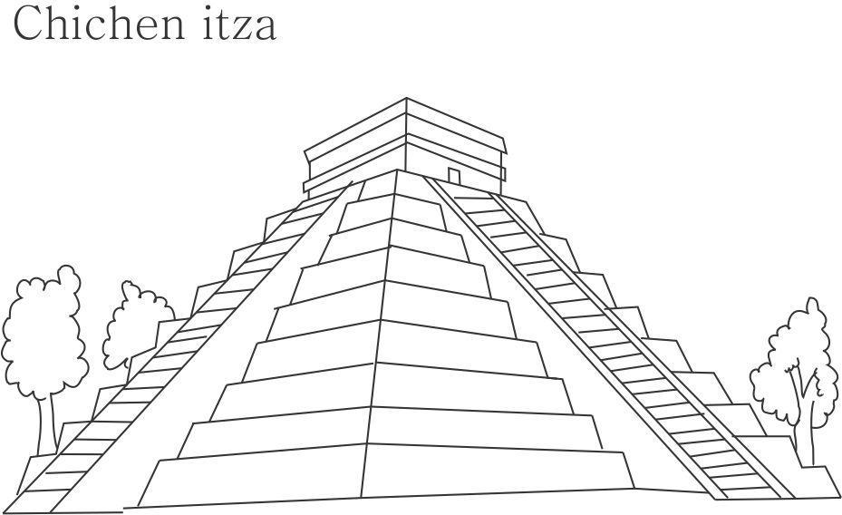 Chichen Itza Mexico Drawing Chichen Itza Printable
