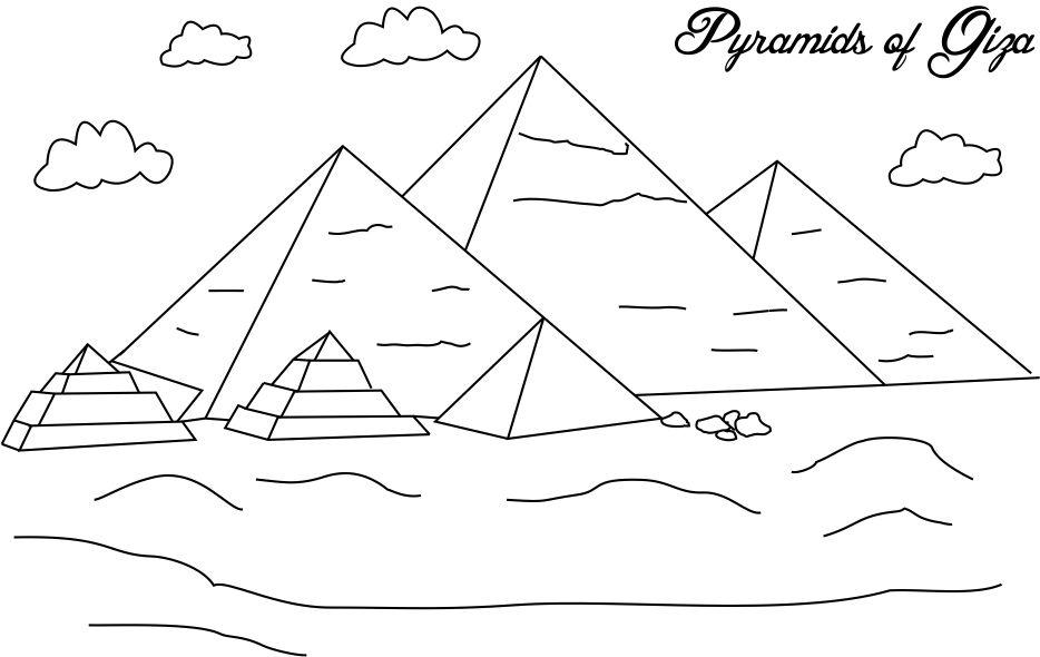 Pyramids Giza Coloring Page For Pages Great