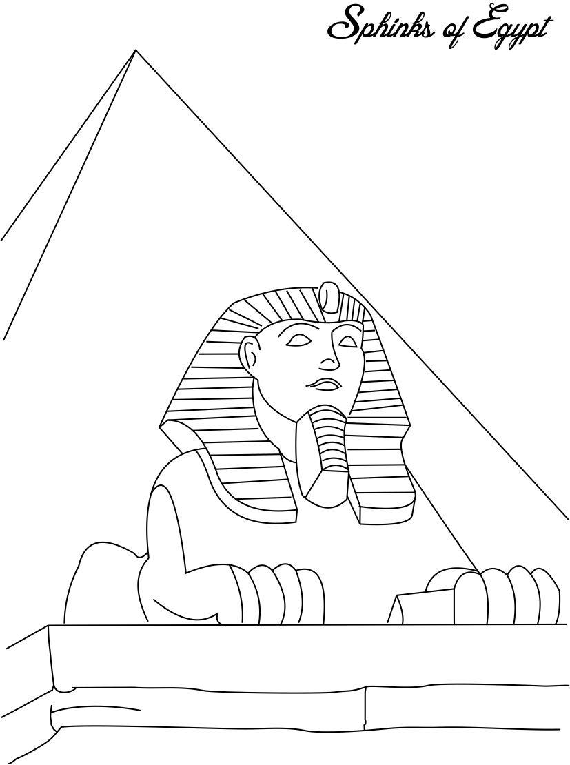 Sphinks Egypt Coloring Page For Pages Great