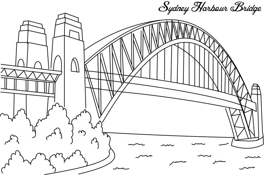 Sydney harbour bridge coloring page for kids