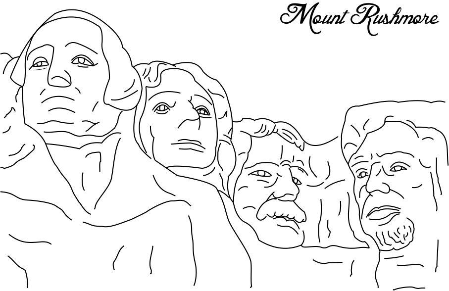 coloring pages of mount rushmore - photo#3