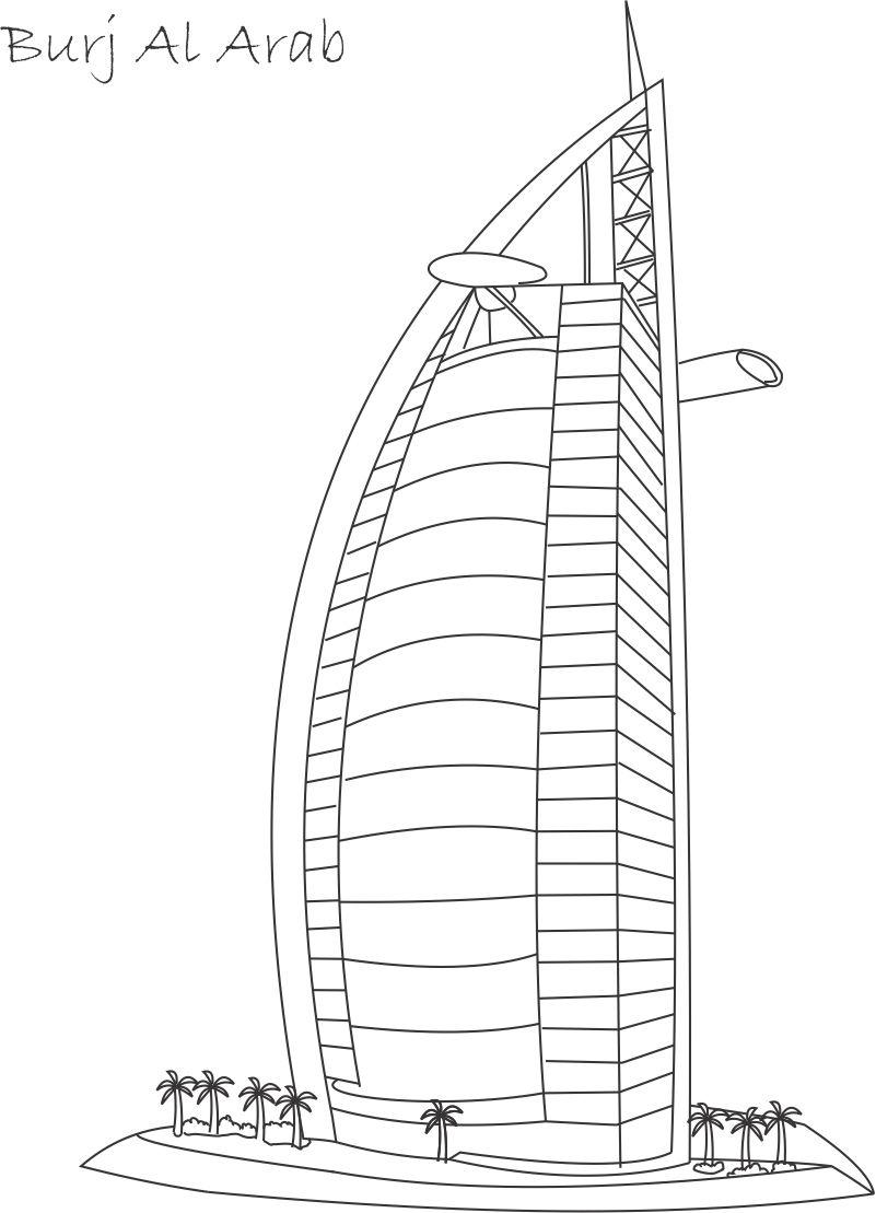 Burj Khalifa Tower Colouring Pages
