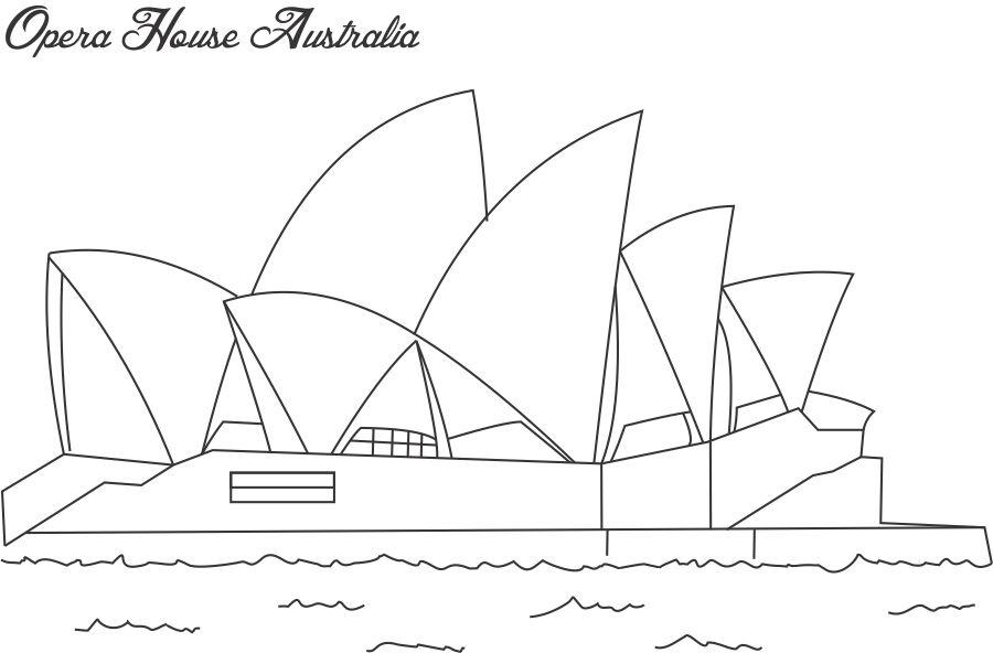 Opera House Sydney Coloring Page For Kids