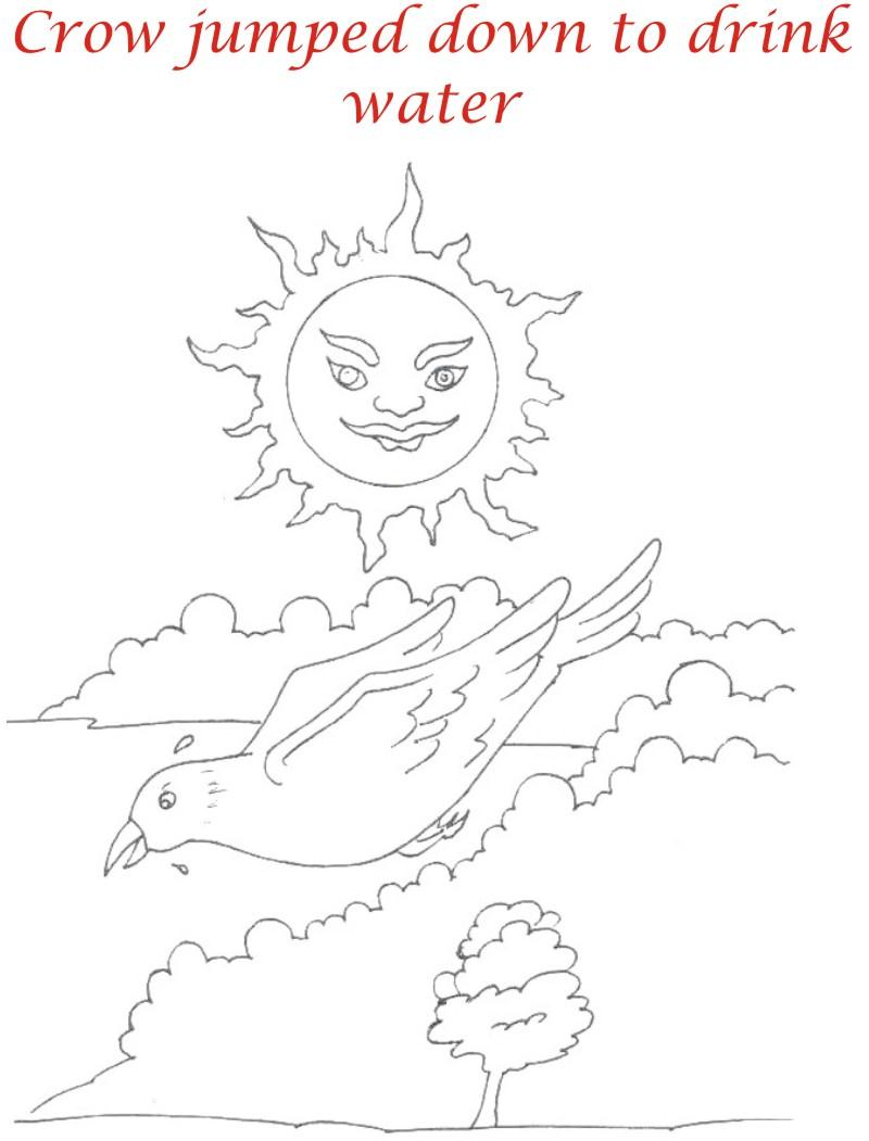 Thirsty crow story coloring page for kids 4