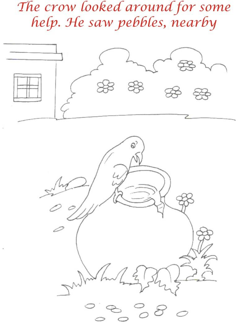 Thirsty crow story coloring page for kids 6