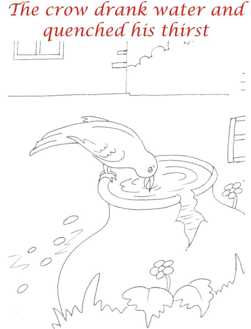 Thirsty crow story coloring page for kids 11