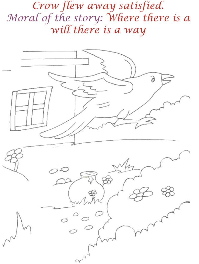 Thirsty crow story coloring page for kids 12