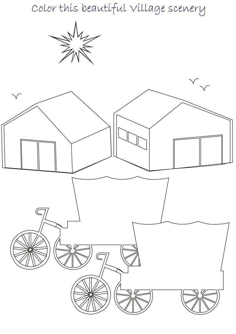 Scenery drawing for kids beautiful scenery coloring for Scenery coloring pages