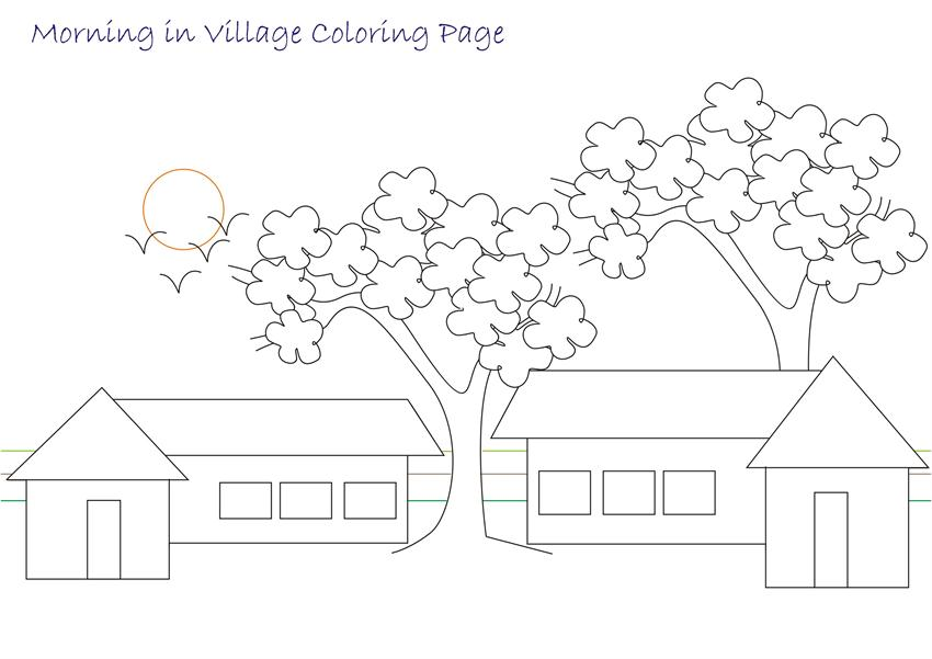 The Gallery For Gt Village Scenery Drawing For Children Scenery Coloring Pages