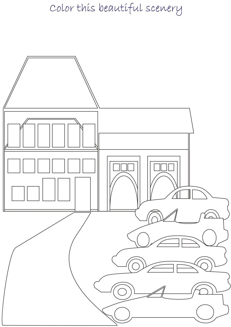Beautiful scenery coloring page for kids 7