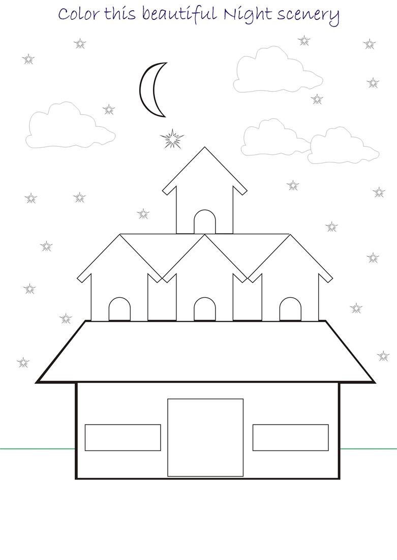 Beautiful scenery coloring page for kids 10