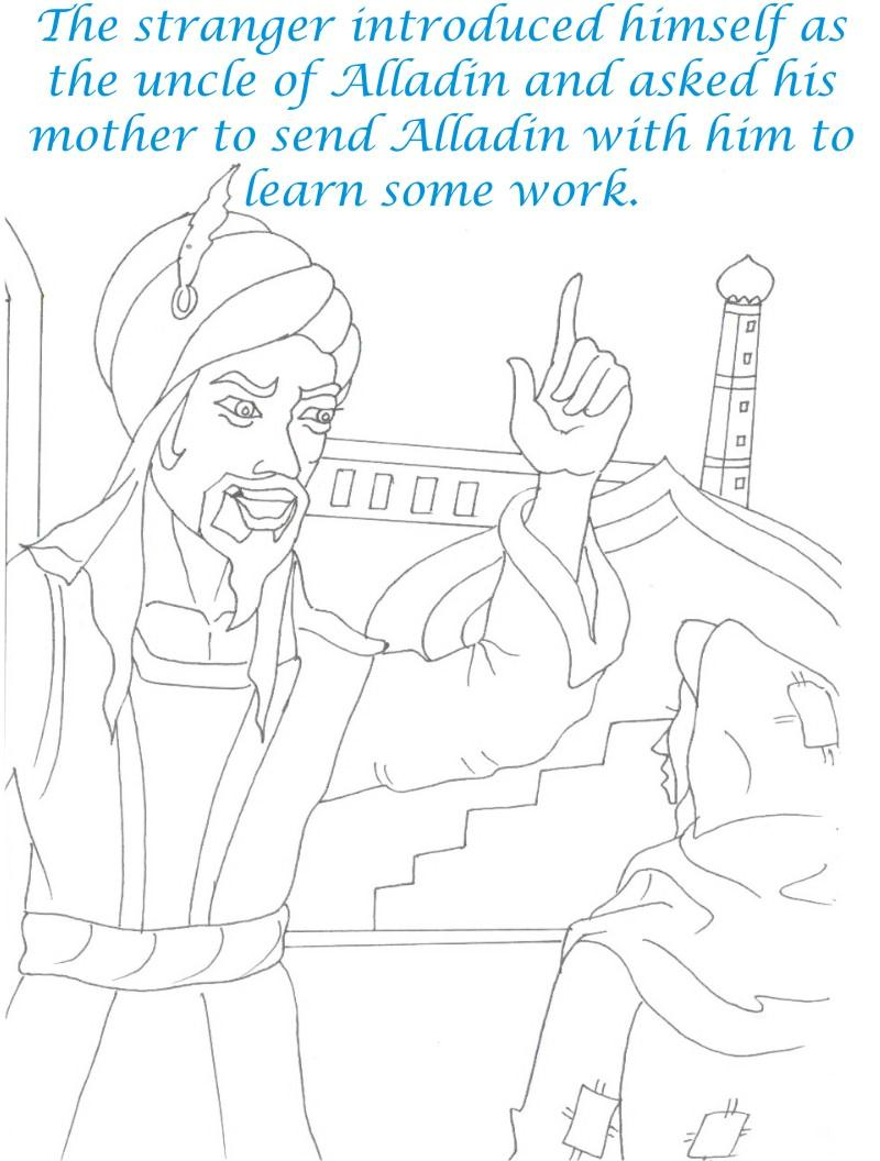 Alladin tales printable coloring page for kids 4