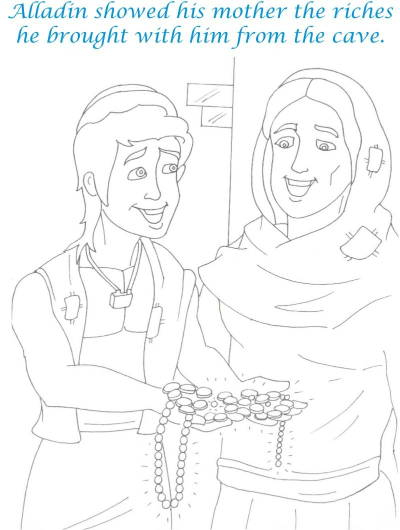 Alladin tales printable coloring page for kids 24