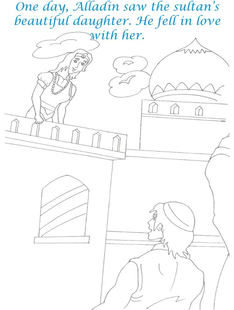 Alladin tales printable coloring page for kids 25