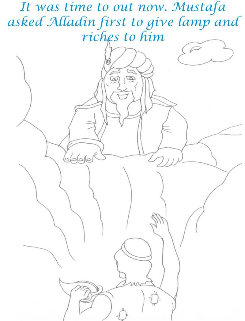 Alladin tales printable coloring page for kids 14
