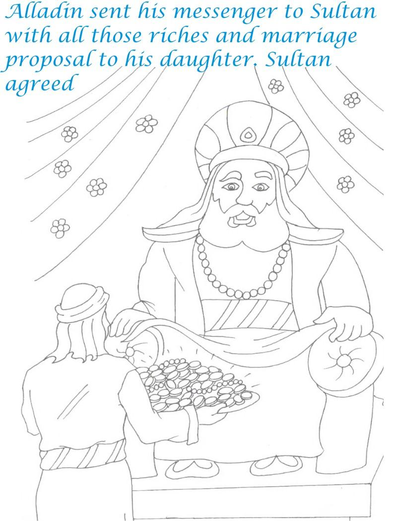 Alladin tales printable coloring page for kids 29