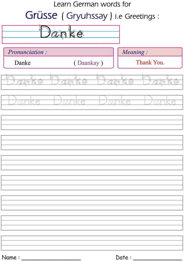 Danke - worksheets for practice