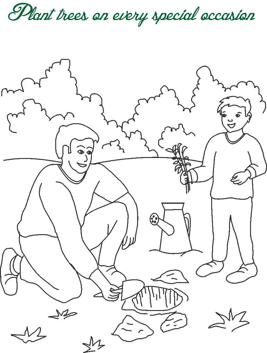 plant trees printable coloring page for kids