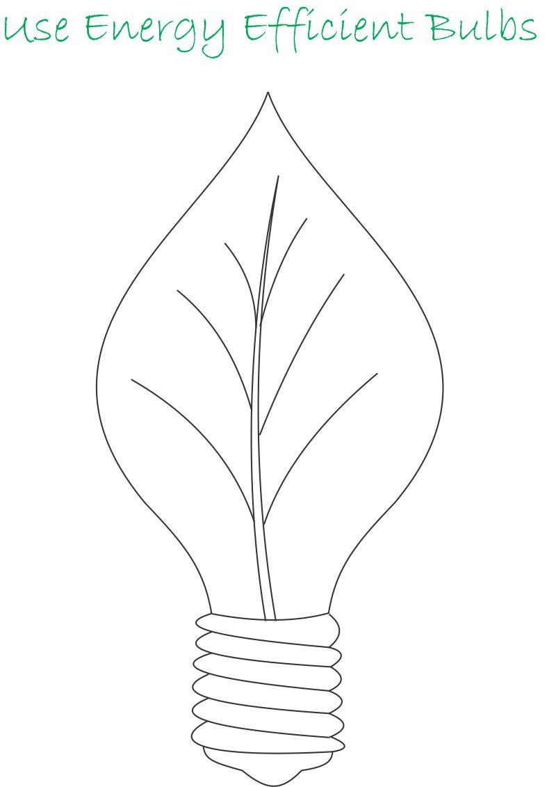 Use energy efficient bulbs coloring page for kids