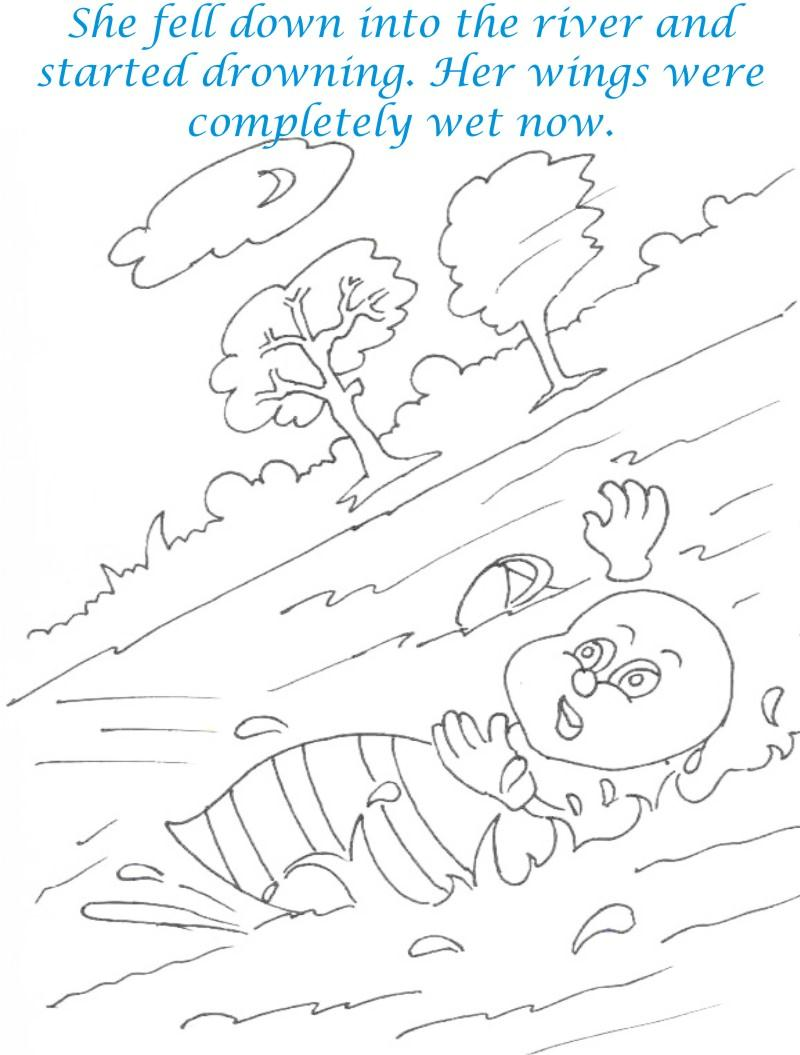 Bee and Dove story coloring page for kids 6