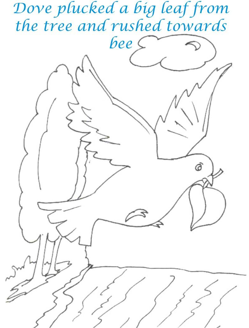 bee and dove story coloring page for kids 9