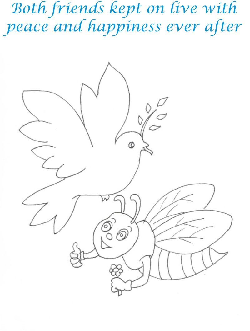 Bee and Dove story coloring page for kids 23