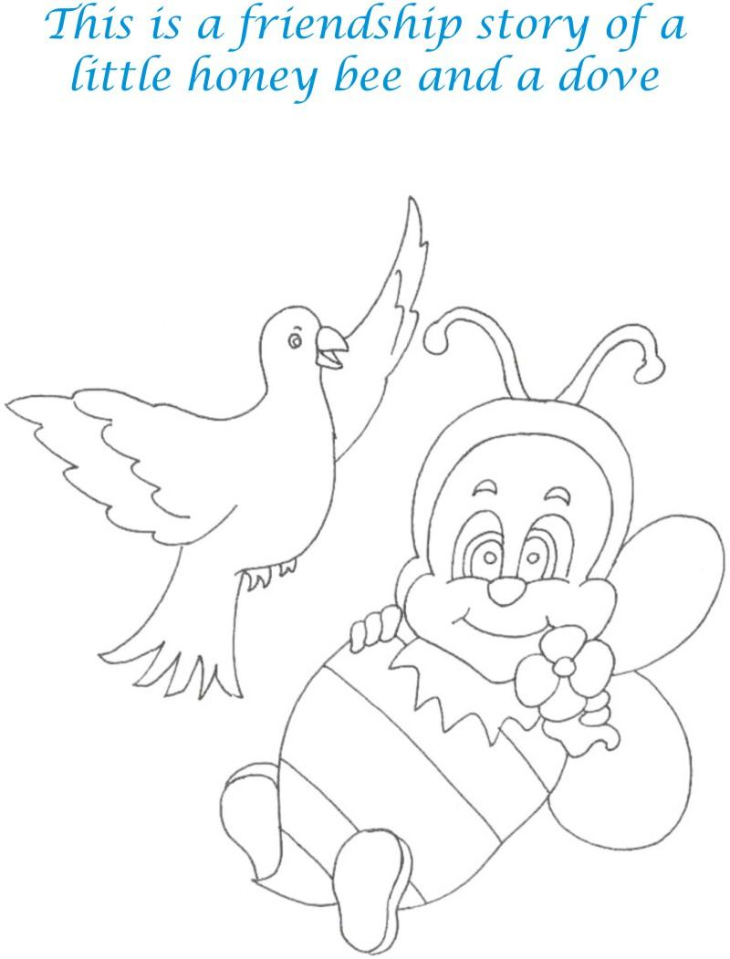 bee and dove story coloring page for kids 1