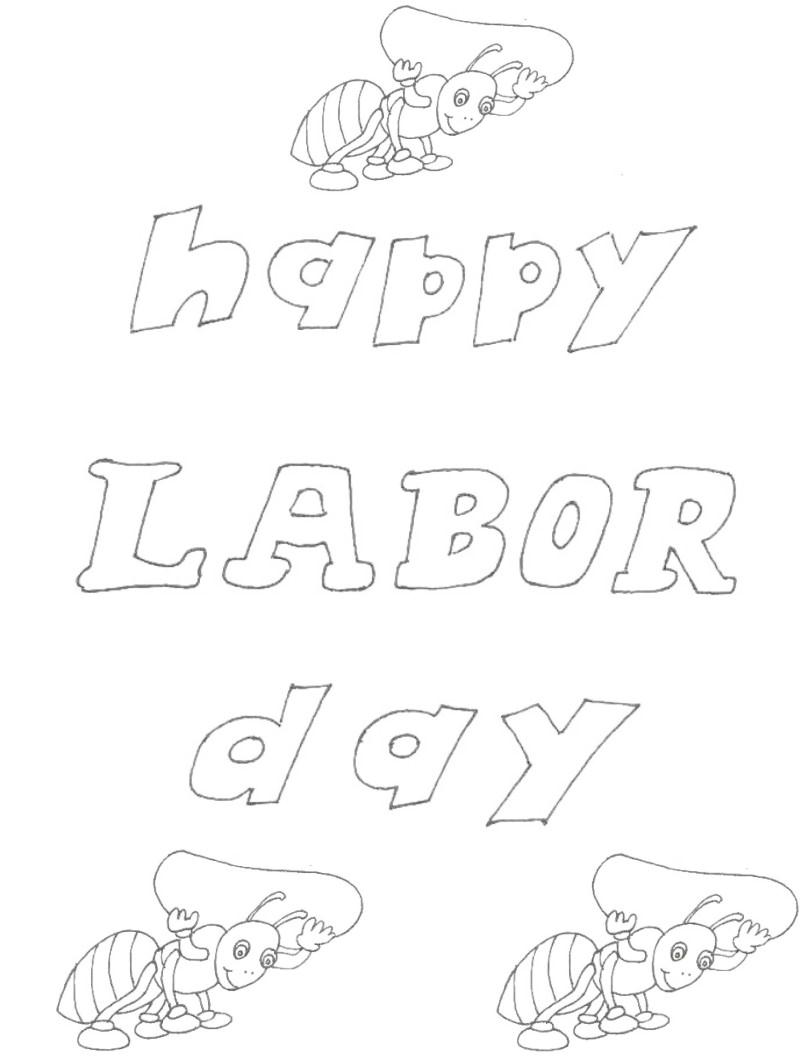 Labor Day printable coloring page for kids 1