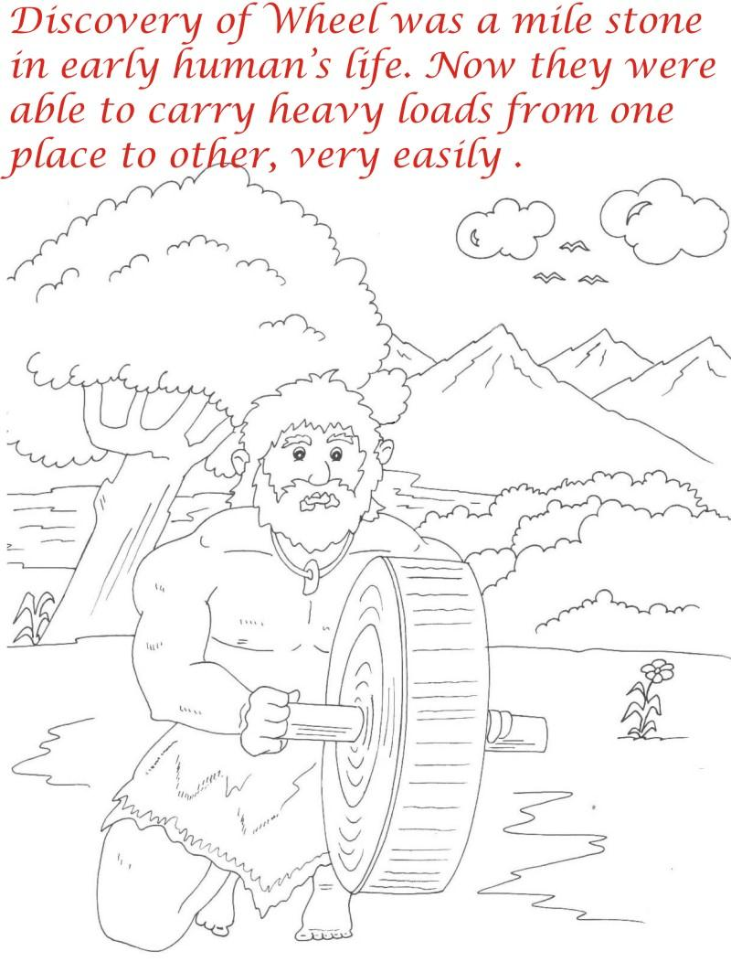 Early Humans printable coloring page for kids 1