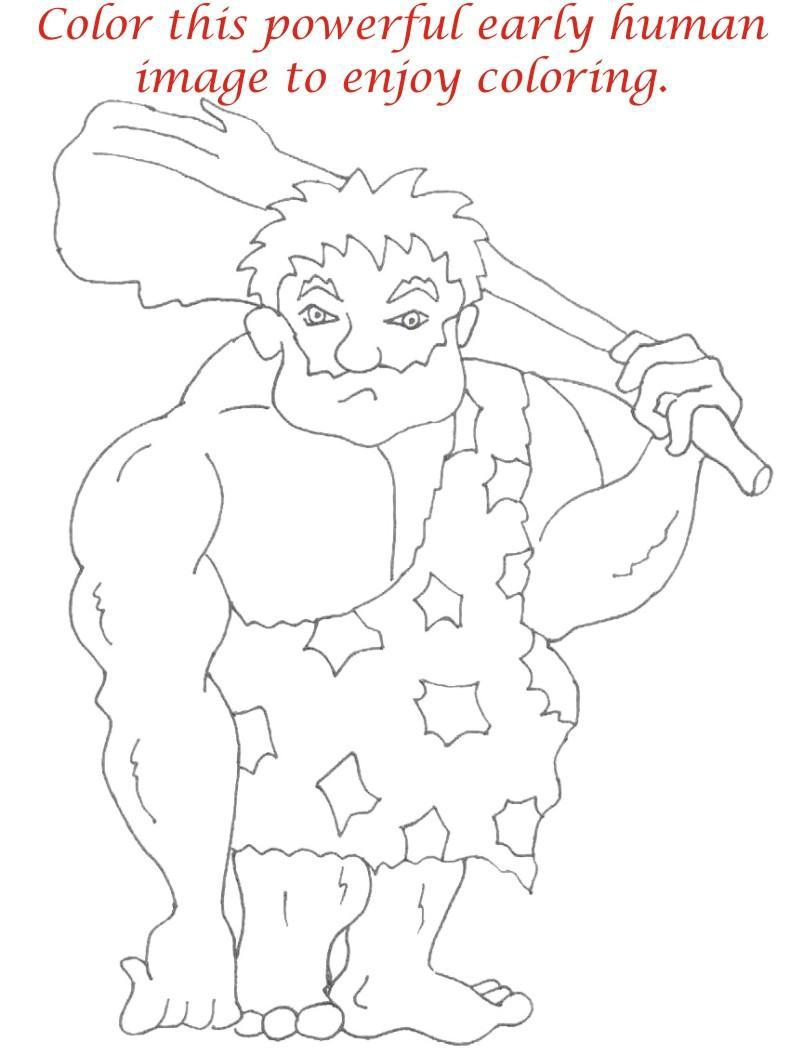 Early Humans printable coloring page for kids 13Early Humans For Kids