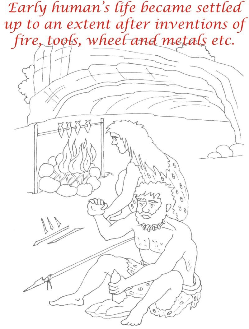 Early Humans printable coloring page for kids 15Early Humans For Kids
