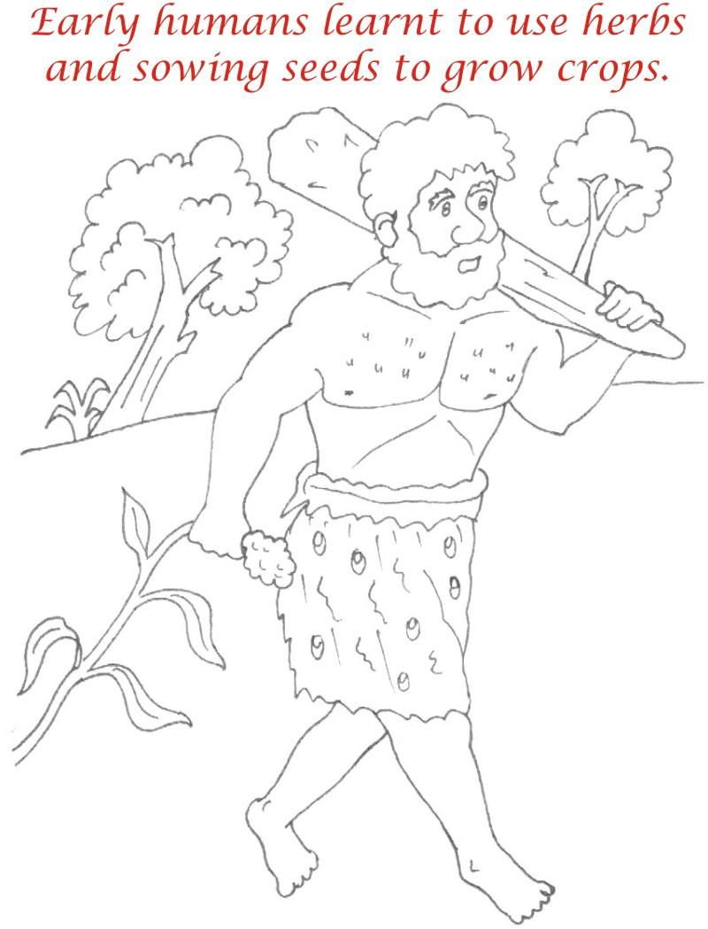Early Humans printable coloring page for kids 16