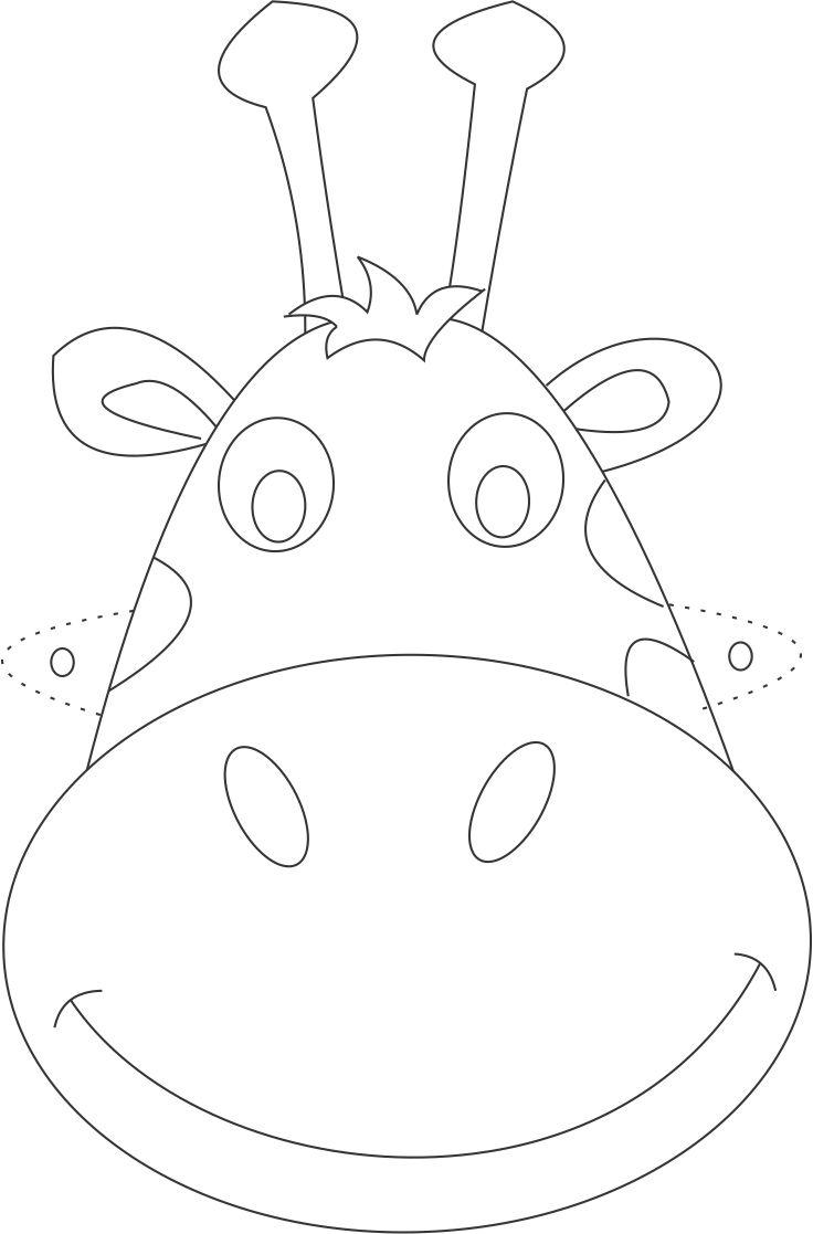 Giraffe mask printable coloring page for kids – Free Printable Face Masks