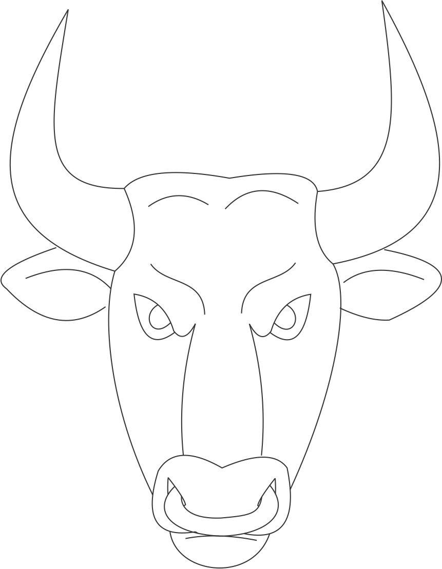 bull mask printable coloring page for kids With bull mask template