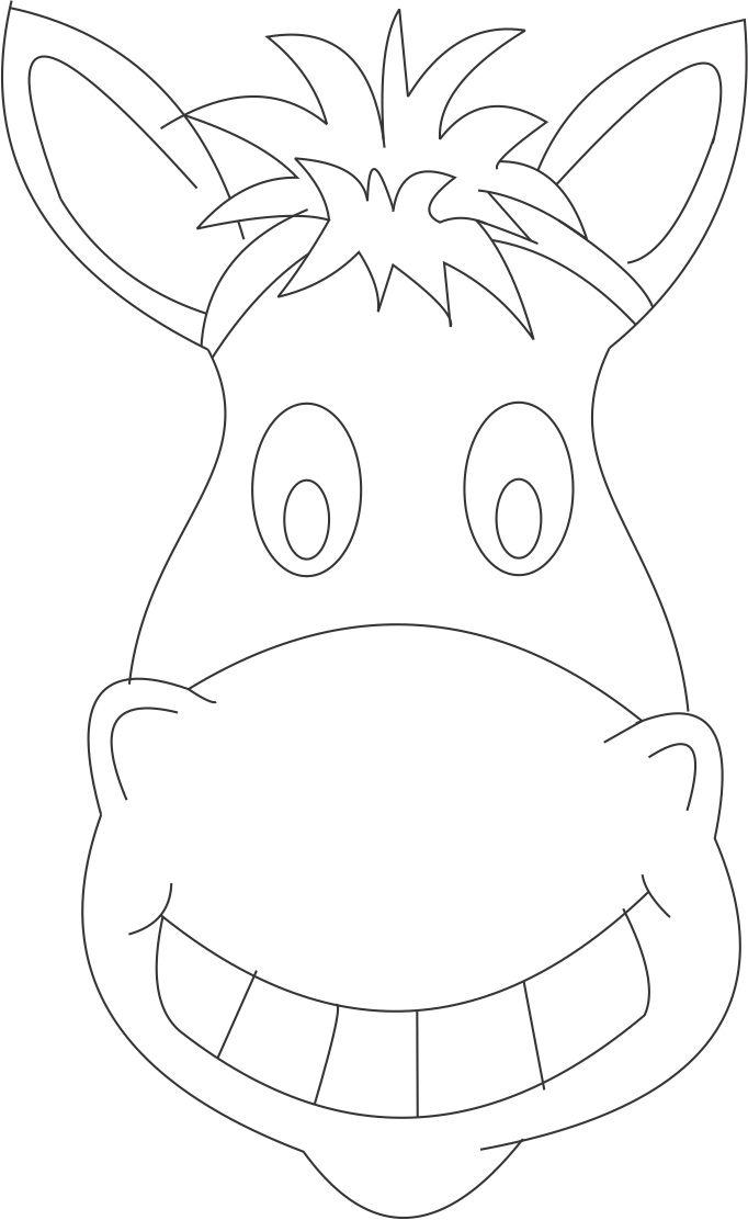 donkey face mask template - horse mask printable coloring page for kids