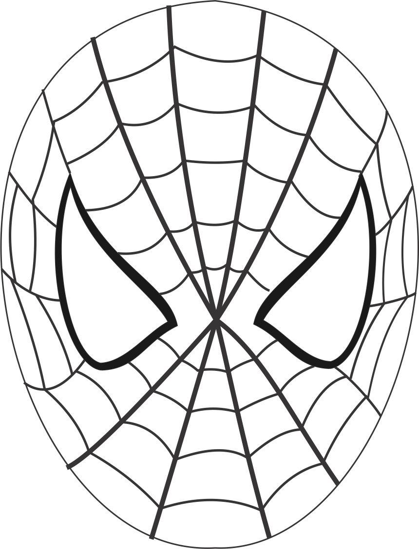 spiderman mask printable coloring page for kids