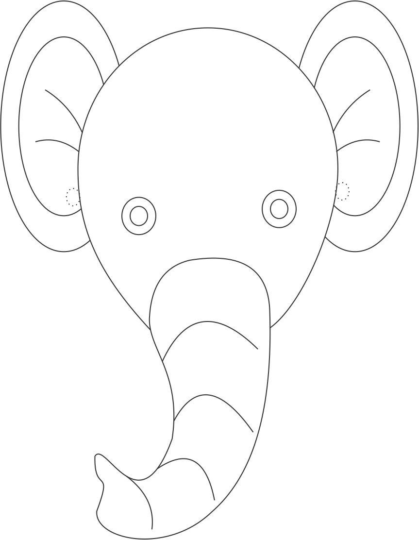 Elephant mask printable coloring page for kids