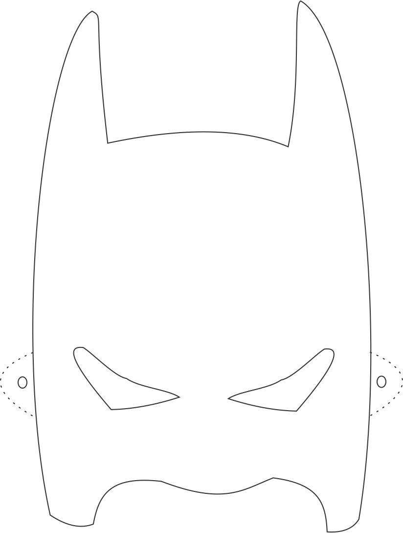 Batman mask printable coloring page for kids for Batman face mask template