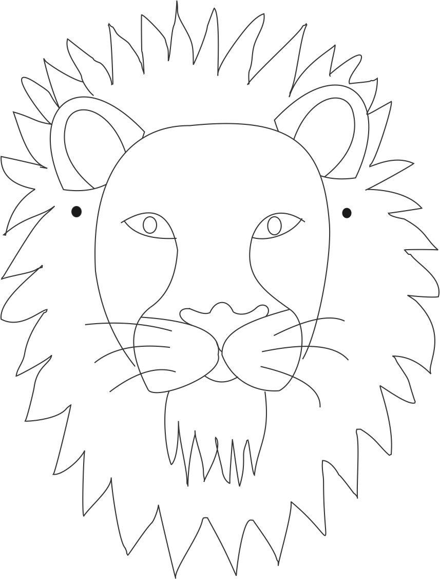 Lion mask printable coloring page for kids for Lion mask coloring page