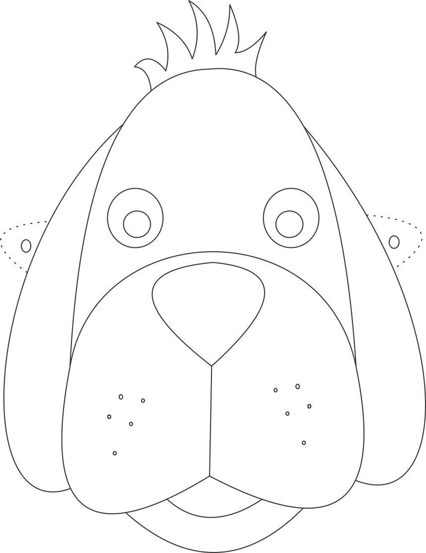 Dog mask printable coloring page for kids for Dog mask template for kids
