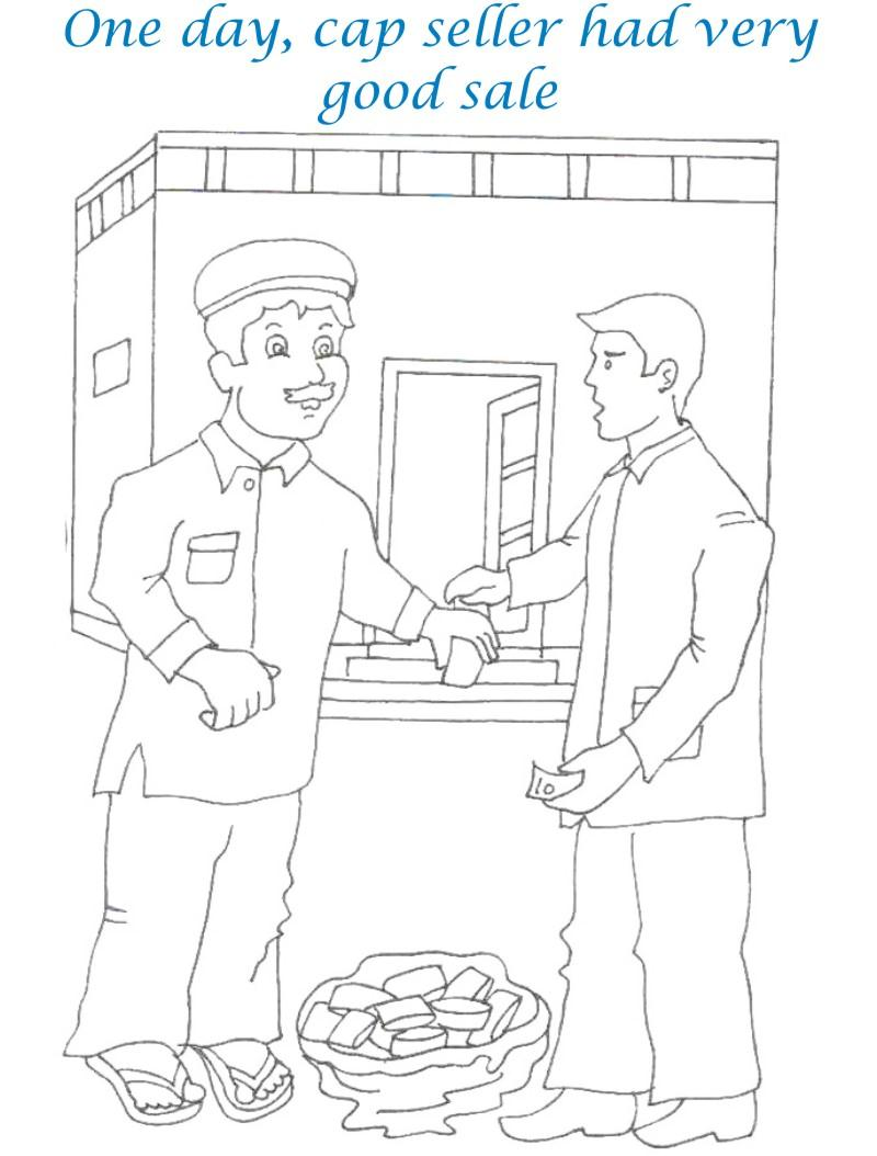 Cap seller story coloring page for kids 2