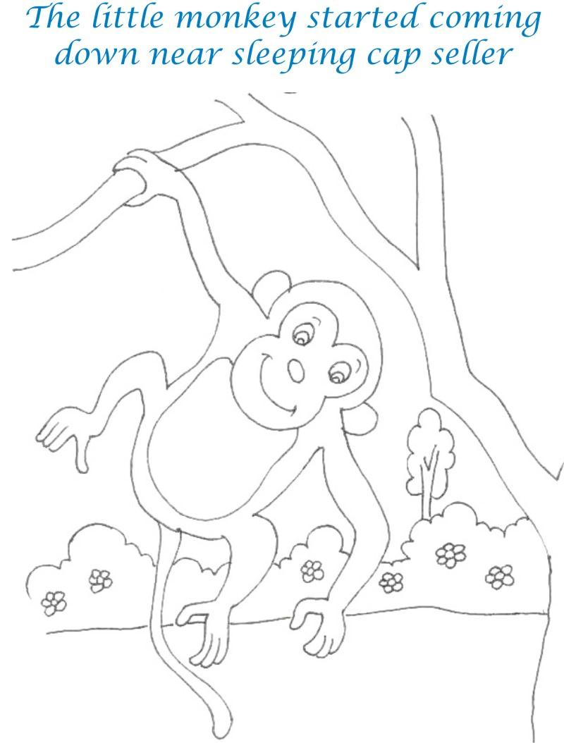 Cap seller story coloring page for kids 8