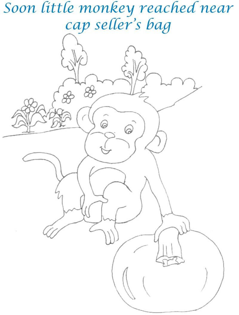 Cap seller story coloring page for kids 9