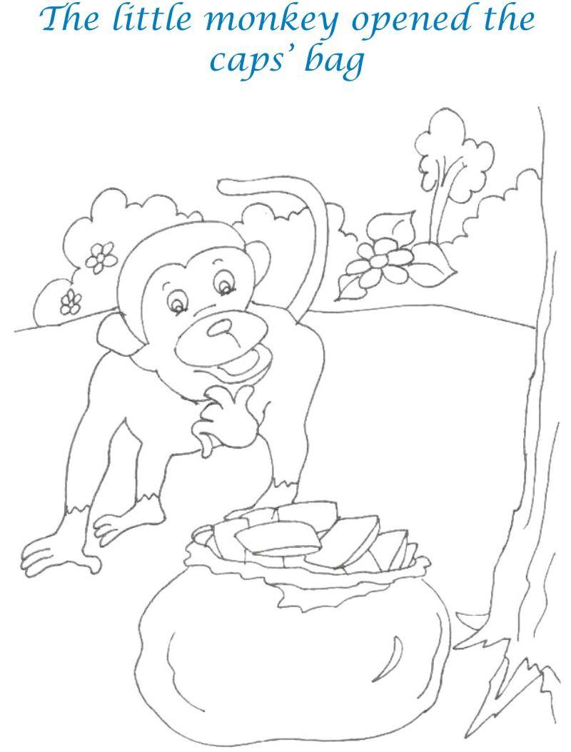Cap seller story coloring page for kids 10