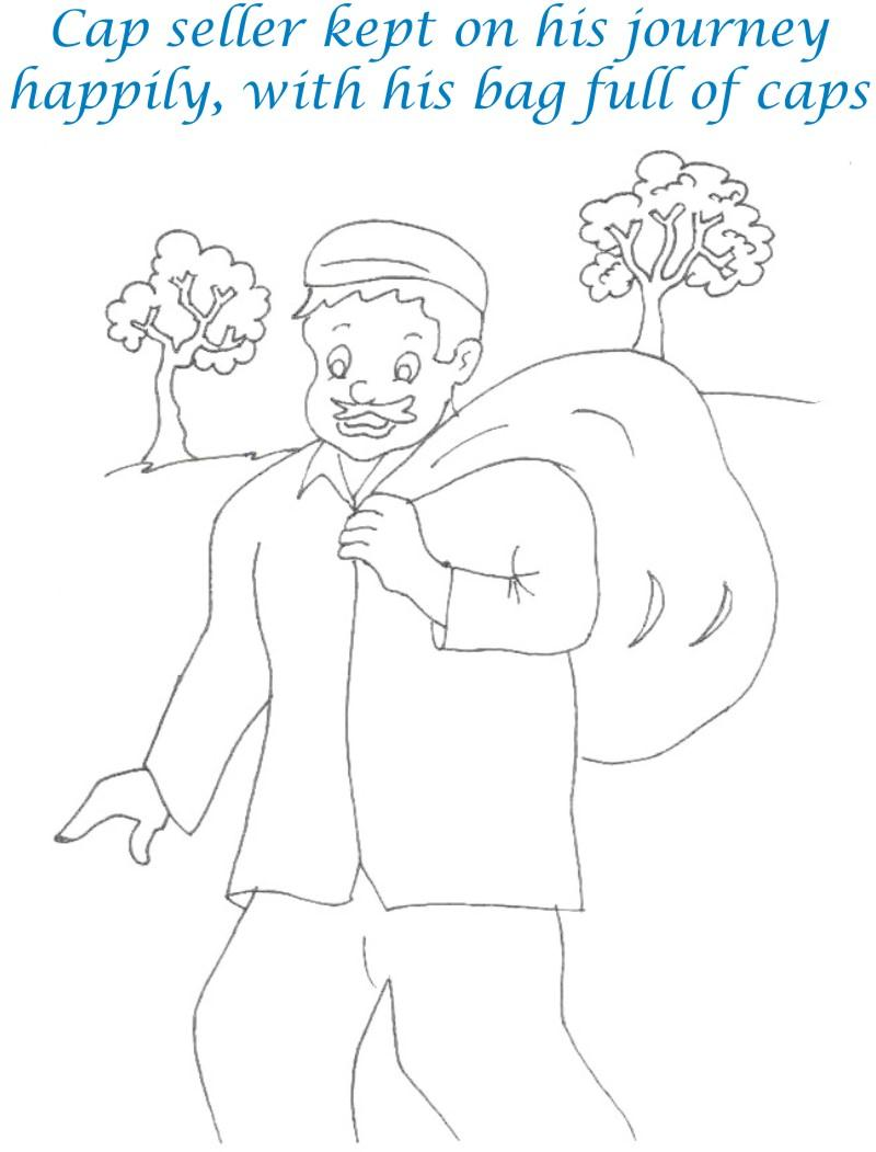 Cap seller story coloring page for kids 23
